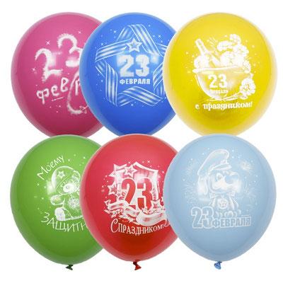 Воздушные шары на День Защитника отечества с рисунком 23 февраля, пачка 50 шт. размер 12 дюймов #6043469 купить в Казани