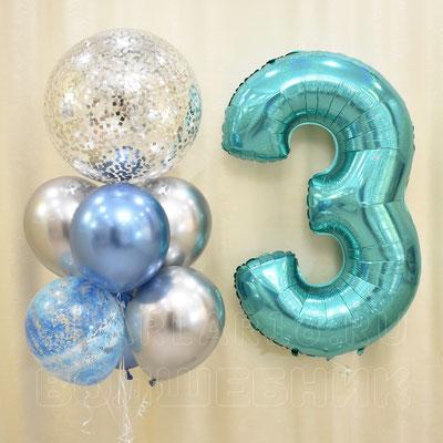 Серебряная холодная композиция гелиевых шаров с цифрой на день рождения - купить в Казани