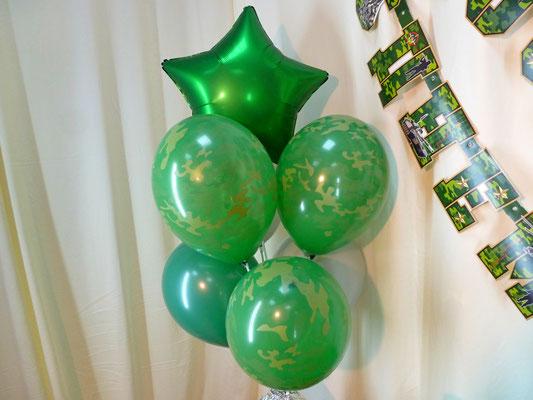 Латексные шары Камуфляж и фольгированная звезда