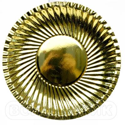 Тарелки праздничные фактурные Золотые, бумага, 18 см, 6 шт. - купить в Казани