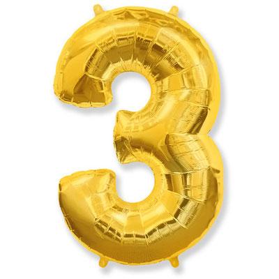 Фигура Flexmetal цифра 3 золото, размеры 55*85 см, купить в Казани