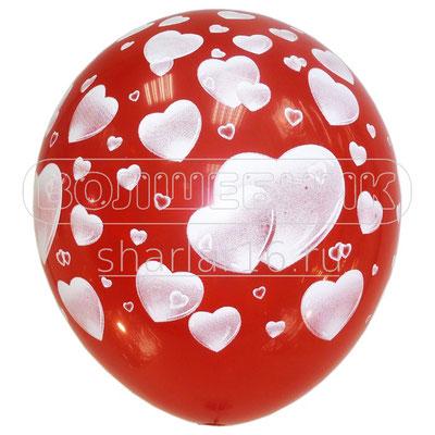 Воздушные шары на Женский день 8 марта с рисунком Сердца, размер 12 дюймов #6040932 купить в Казани