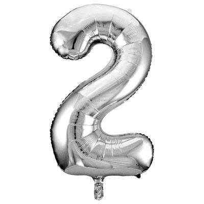 Фигура Весёлая Затея цифра 2 серебро, размеры 50*89 см, купить в Казани