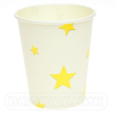 Стаканы праздничные Звезды золотые, бумага, 260 мл, 6 шт. - купить в Казани
