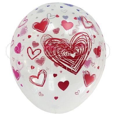 Воздушные шары на День всех влюблённых с рисунком Сердца разноцветные, размер 12 дюймов #122991 купить в Казани