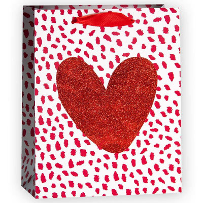 Пакет подарочный, с рисунком Сердце, Красный, с блестками арт. QR029-A1 купить в Казани