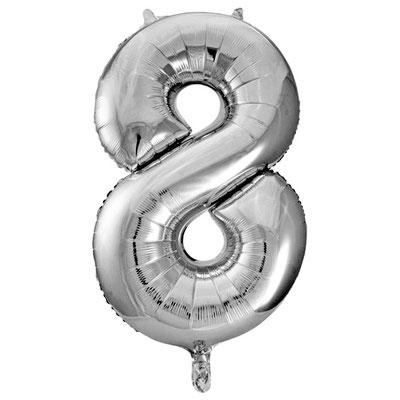 Фигура Весёлая Затея цифра 8 серебро, размеры 52*87 см, купить в Казани