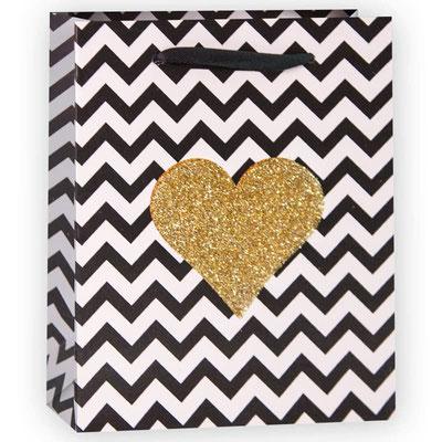 Пакет подарочный на 14 февраля, с рисунком Золотое сердце зигзаги, Черный Белый, с блестками арт. WK-A-1149XS купить в Казани