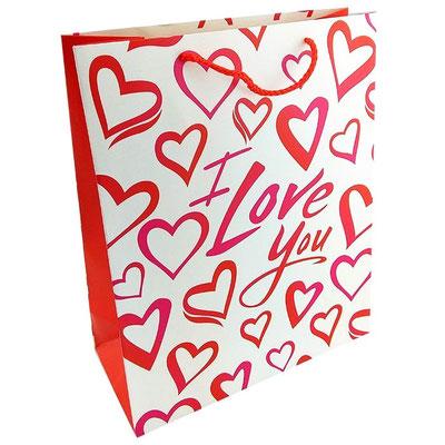 Пакет подарочный на День всех влюблённых, с рисунком Я тебя люблю арт. 1365-1XL купить в Казани