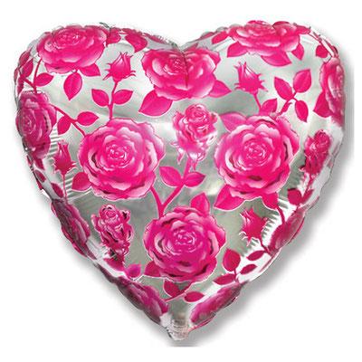 Воздушный шар на Женский день 8 марта , размер 18 дюймов, Розы #201520 купить в Казани