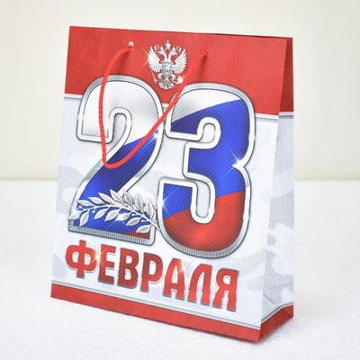 Пакет для подарка 23 февраля 23*27*8 см #2557314 - купить в Казани