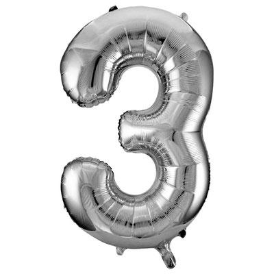 Фигура Весёлая Затея цифра 3 серебро, размеры 53*86 см, купить в Казани