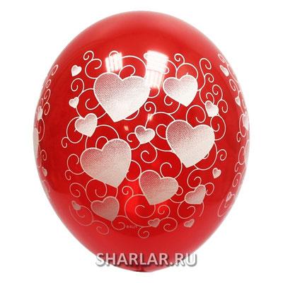 Воздушные шары на Женский день 8 марта с рисунком Сердца орнамент, размер 14 дюймов #1103-0204 купить в Казани