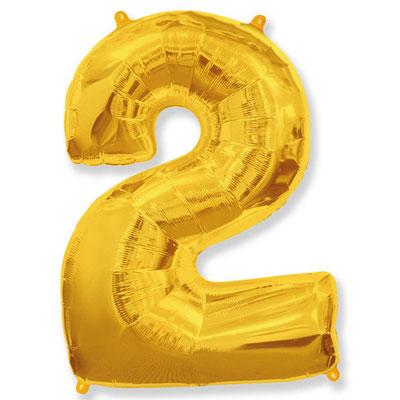 Фигура Flexmetal цифра 2 золото, размеры 56*87 см, купить в Казани