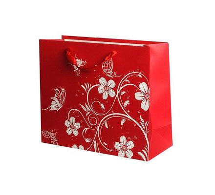 Пакет подарочный на День всех влюблённых, с рисунком Цветы и бабочки Красный арт. 1304-2XL купить в Казани