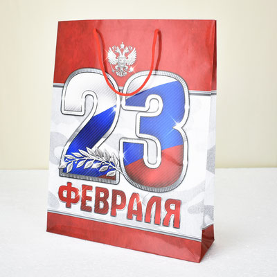 Пакет для подарка 23 февраля 31*40*9 см #2557320 - купить в Казани