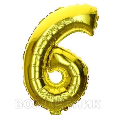 Мини цифра 6, золото, высота 32 см, купить в Казани