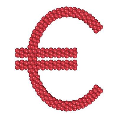 Знак евро из воздушных шаров