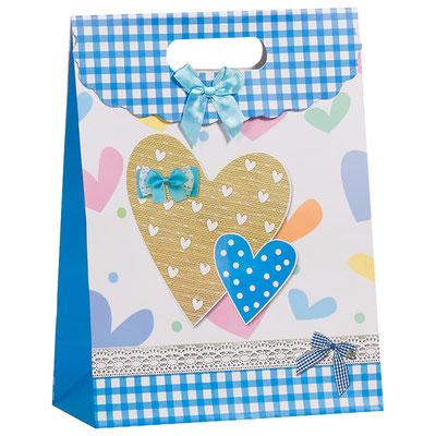 Пакет подарочный на 14 февраля, с рисунком Сердца, Голубой арт. TCP334 купить в Казани