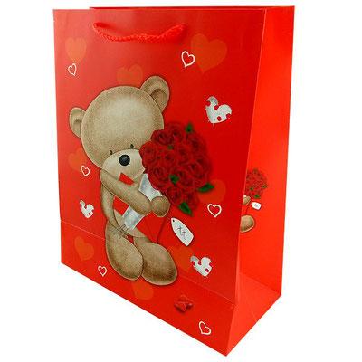 Пакет подарочный на 14 февраля, с рисунком Мишка с букетом арт. 1362-1L купить в Казани