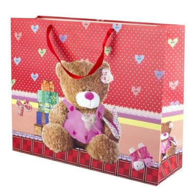 Пакет подарочный на 14 февраля, с рисунком Плюшевый мишка Красный арт. 1401-3 купить в Казани