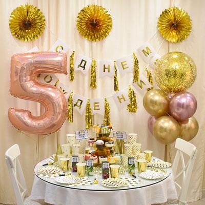 Золотые воздушные шары и гирлянды для оформления дня рождения в стиле золото - купить в Казани