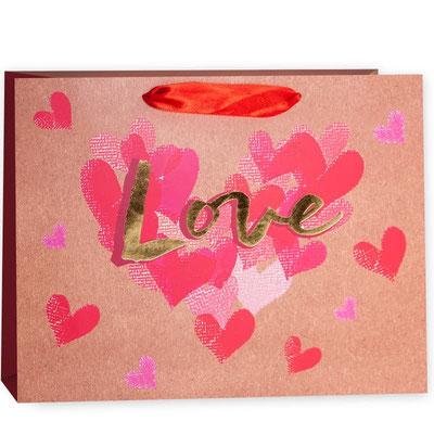Пакет подарочный на День всех влюблённых, с рисунком Крафт, Любовь арт. QR033-A2 купить в Казани