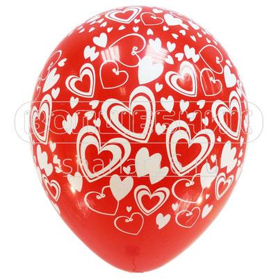 Воздушные шары на Женский день 8 марта с рисунком Кокетливые сердечки, размер 12 дюймов #53199-50 купить в Казани