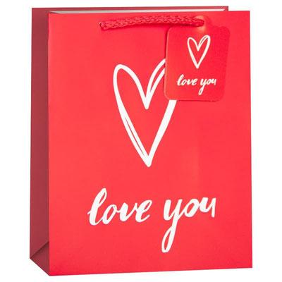 Пакет подарочный на День Валентина, с рисунком Я Люблю Тебя (сердце), Красный арт. KR-H2354L3 купить в Казани