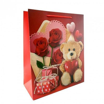 Пакет подарочный на День Валентина, с рисунком Мишка и розы арт. 3811362-1L купить в Казани