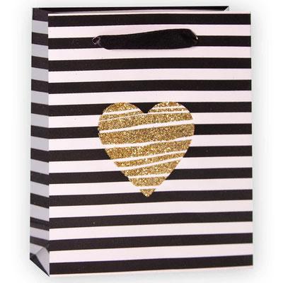 Пакет подарочный на День всех влюблённых, с рисунком Золотое сердце полосы, Черный Белый, с блестками арт. WK-A-1151XS купить в Казани