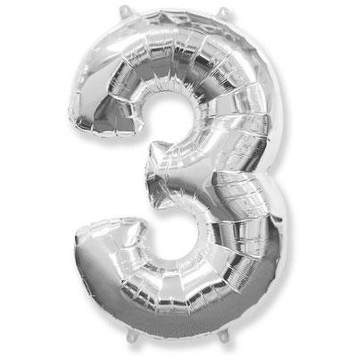 Фигура Flexmetal цифра 3 серебро, размеры 55*85 см, купить в Казани