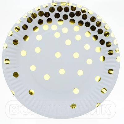 Тарелки праздничные Конфетти золотые, бумага, 18 см, 6 шт. - купить в Казани