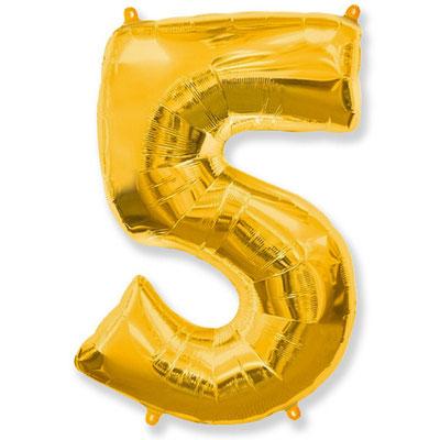 Фигура Flexmetal цифра 5 золото, размеры 53*85 см, купить в Казани