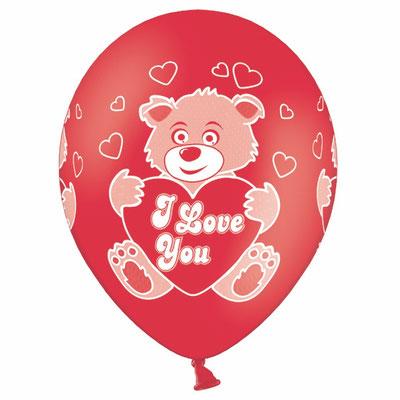 Воздушные шары на День Валентина с рисунком Мишки I LOVE YOU, размер 14 дюймов #1103-0838 купить в Казани