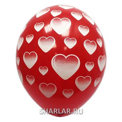 Воздушные шары на Женский день 8 марта с рисунком Сердца, размер 14 дюймов #1103-0836 купить в Казани