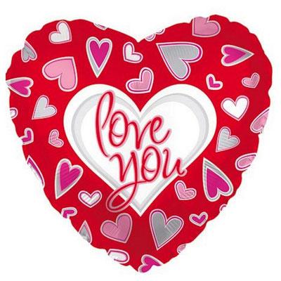 """Фольгированный воздушный шар CTI сердце 18"""" I Love You Причудливые сердца купить в Казани"""