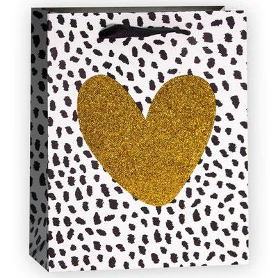 Пакет подарочный на День Валентина, с рисунком Сердце, Золото/Черный, с блестками арт. QR029-D1 купить в Казани