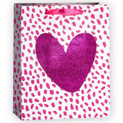 Пакет подарочный на День всех влюблённых, с рисунком Сердце, Розовый, с блестками арт. QR029-B1 купить в Казани