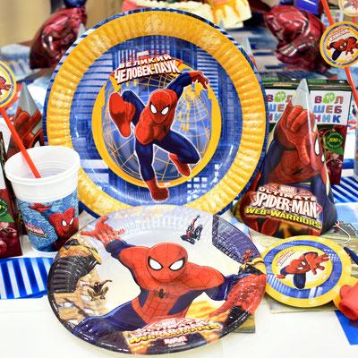 Сервировка для праздничного стола на День рождения в стиле Человек паук - купить в Казани