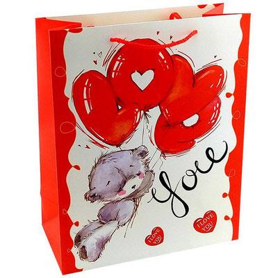 Пакет подарочный на День Валентина, с рисунком Улетаю от любви. Мишка арт. 356-E-WK купить в Казани