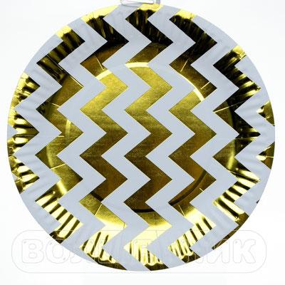 Тарелки праздничные Золотые зигзаги, бумага, 18 см, 6 шт. - купить в Казани