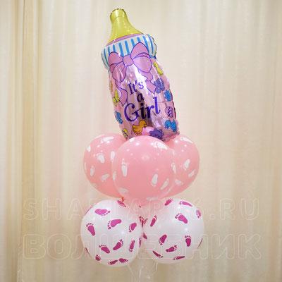 Букет гелиевых шаров с фигурой соски. Для девочки - купить в Казани