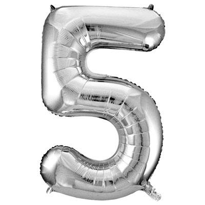 Фигура Весёлая Затея цифра 5 серебро, размеры 55*86 см, купить в Казани