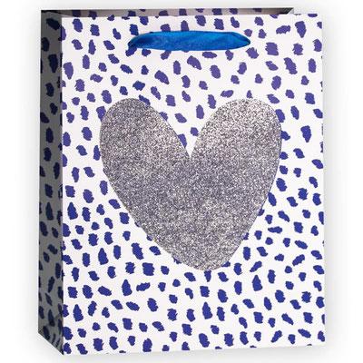 Пакет подарочный на День Валентина на 14 февраля, с рисунком Сердце, Серебро Синий, с блестками арт. QR029-C1 купить в Казани