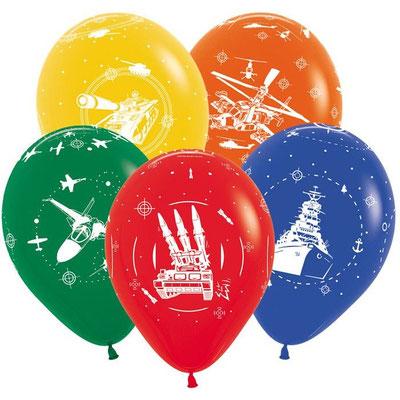 Воздушные шары на День Защитника отечества с рисунком Военная техника, размер 12 дюймов #612117 купить в Казани