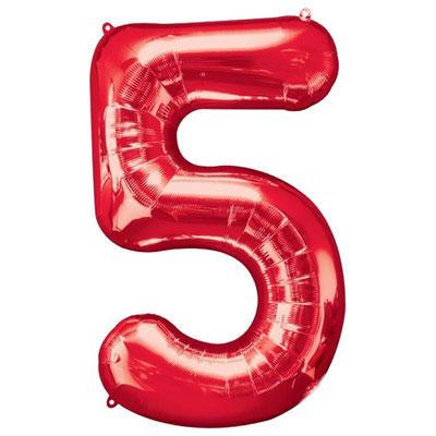 Фигура Весёлая Затея цифра 5 красный, размеры 55*86 см, купить в Казани