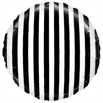 """Фольгированный воздушный шар FALALI круг 18"""" В полоску черно-белый купить в Казани"""