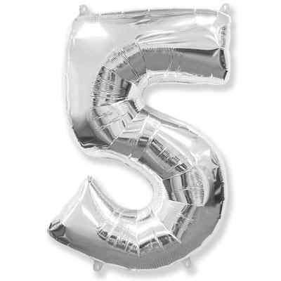 Фигура Flexmetal цифра 5 серебро, размеры 54*85 см, купить в Казани