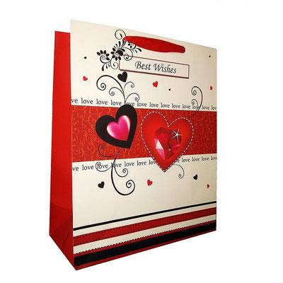 Пакет подарочный на 14 февраля, с рисунком Наилучшие пожелания арт. 1361-1L купить в Казани